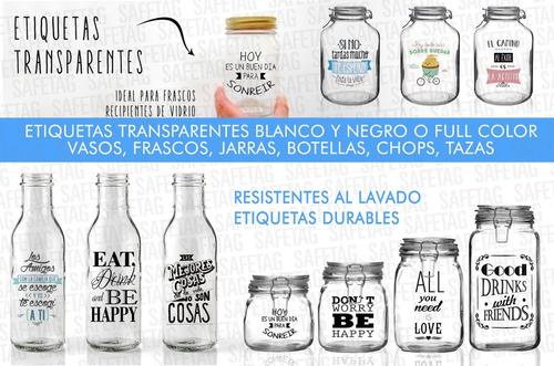 Etiquetas Transparentes Candy Bar Cumpleaños Fiestas Frascos Troquelados Especiales Formas Resistentes Agua Diseños