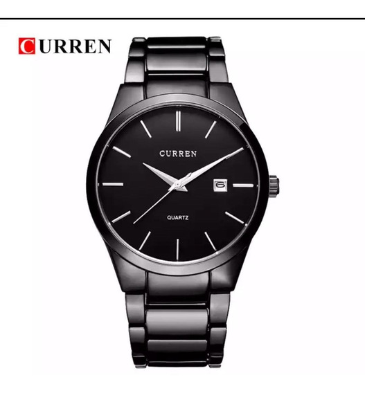 Relógio Masculino Curren Preto Luxo M8106 Promo Black Friday
