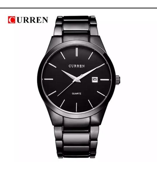 Relógio Masculino Curren Preto Luxo Promoção Black Friday