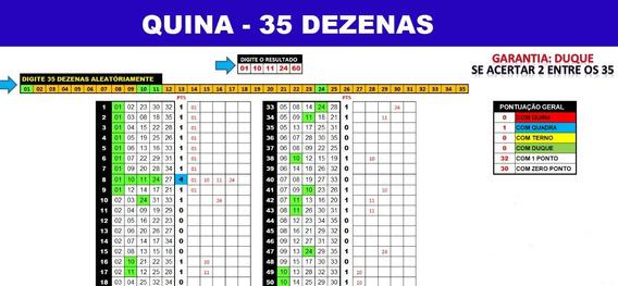 Planilha Quina - 35 Dezenas Se Acertar 2 Já Tem 2 Pontos