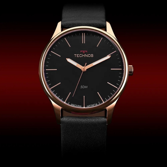 Relógio Masculino Steel Rosê Technos Preto Couro 2035mqg/2p