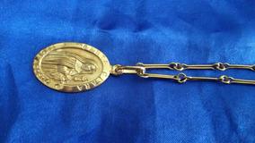 Corrente De Ouro 18k 750 Com Medalha De Santa Clara