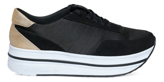Tenis Dama Negros Con Plataforma Devendi Denim Co.