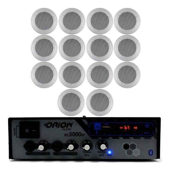 Kit Som Ambiente 300w Bluetooth Mic+ 14 Caixas Brancas