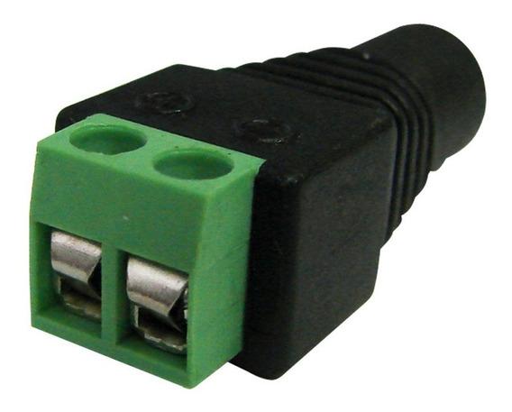 Kit Com 10 Conectores P4 Fêmea C/ Borne - P/ Fitas Led, Cftv