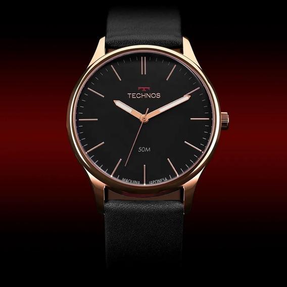 Relógio Masculino Aço 2035mqg/2p Preto Technos Rose Couro Nf