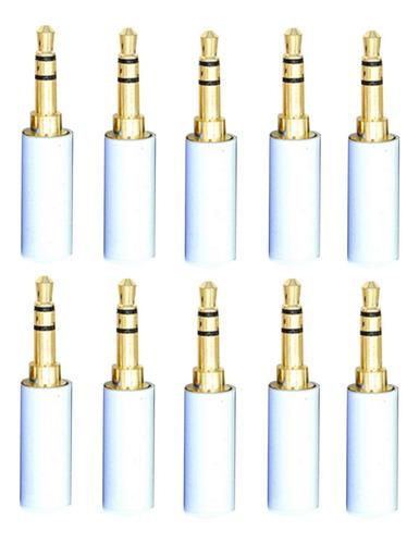 Imagem 1 de 5 de Kit 10 Plug Conector Branco Star Cable P2 Stereo