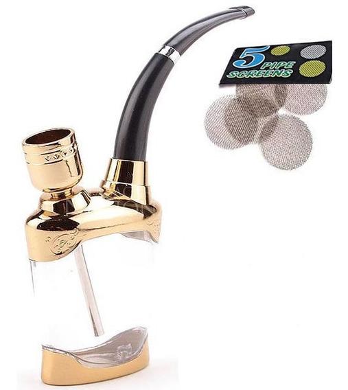 Water Pipe Cachimbo + 5 Telinhas Metal Bong Seda Fumo