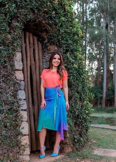 Saia Tie Dye Jeans Midi Assimétrica Evangélica Joyaly Moda