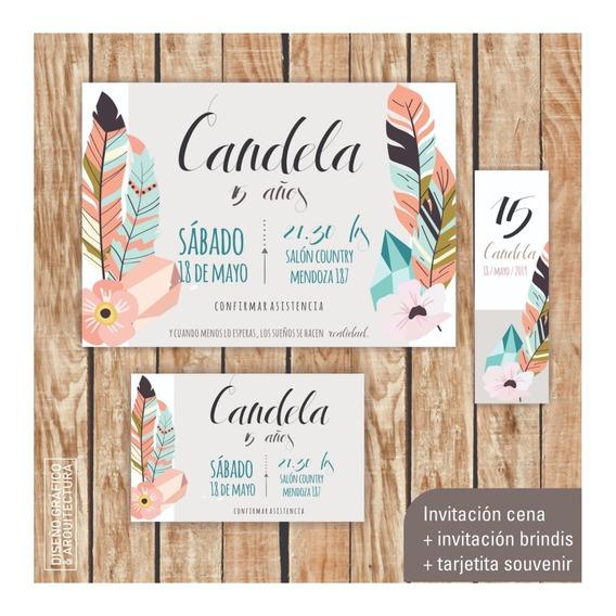 Kit Imprimible Cumple 15 Boho Flores Invitaciones Tarjeta