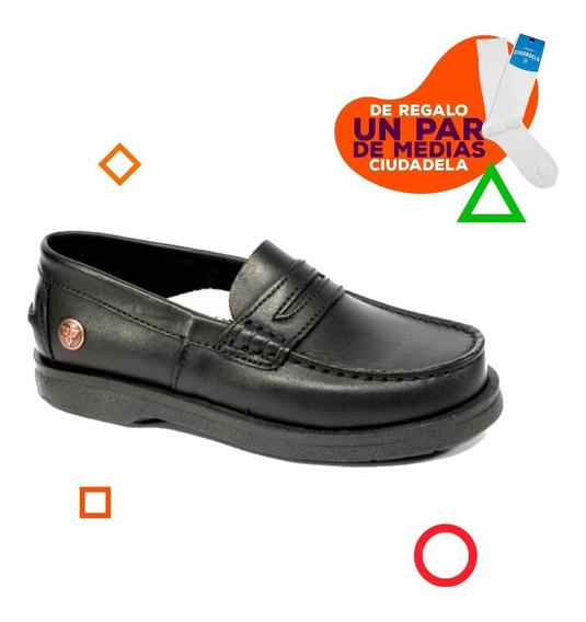 Zapatos Náuticos Cavatini Neg De Niños 31 Al 34