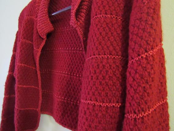 Casaco De Trico Casaqueto Cropped Crochê Feito À Mão