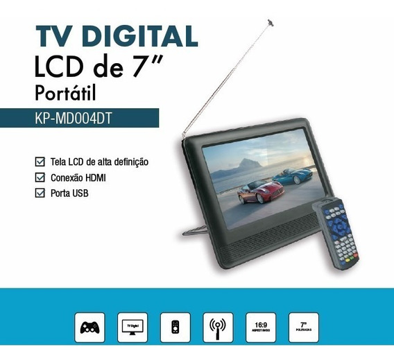 Tv Digital Portátil 7 Pol Hd Full Seg Saídas Hdmi, Rca, P2