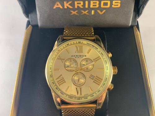 Reloj Akribos Xxiv Ak813 Yellow Gold Exclusivo Swiss Made
