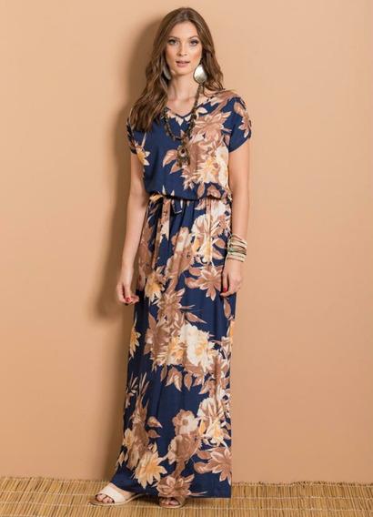 Vestido Longo Com Fenda Nas Costas Maxi Floral Quintess