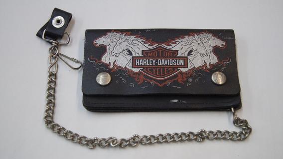 Carteira Da Harley Davidson Em Couro Com Corrente Motoqueiro