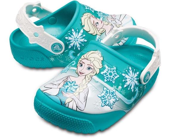 Crocs Niña Frozen Con Luz Todas Las Tallas