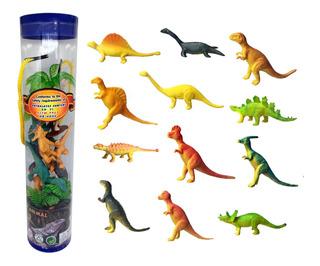 Dinos X12 Dinosaurios En Tubo Diferentes Souvenir Terrario