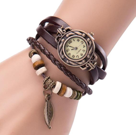 Relógio Feminino Pulseira Couro Folha Pingente Fashion Rf05