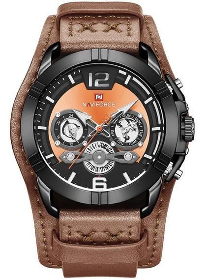 Relógio Masculino Naviforce 9162 Militar Esportivo Lançamento Bracelete Couro Original