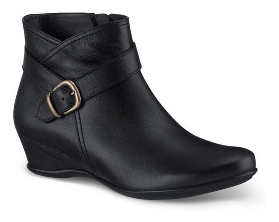 Zapatos Botines Negros Andrea D Piel Para Dama Tacón Bajito
