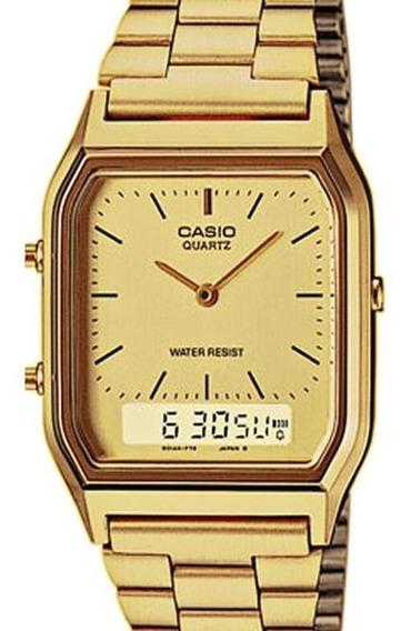 Relógio Casio Unissex Vintage Aq-230ga 9dmq Dourado Quadrad