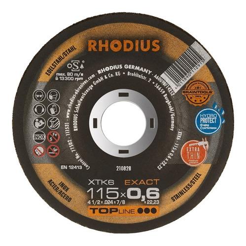 Disco De Corte Metal 4 1/2  115 X 0.6 Mm  Rhodius Alemania