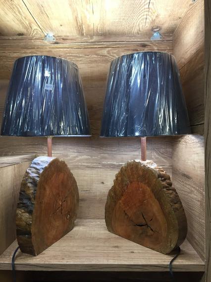 Abajur(par) Em Madeira Rustica,com Cupula Conica M Preto
