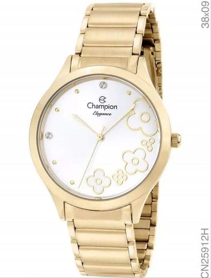 Relógio Champion Feminino Analógico Dourado Flor Cn25912h Nf