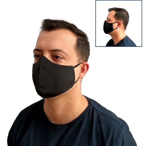 Máscara De Proteção Tecido Preto Lavavel Higienizavel