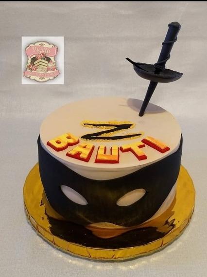 Adorno De Torta Espada El Zorro Porcelana Fria Cumpleaños