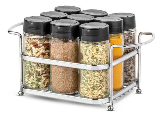 Porta Temperos E Condimentos Com 9 Potes De Vidro E Suporte