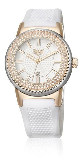 Relógio Pulso Everlast Feminino Aço Branco Pedras E457
