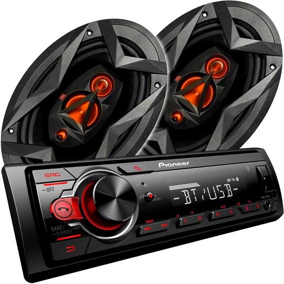Stereo Pioneer Mvh-215bt + Parlantes Jbl Flex 3 6x9 100 Rms
