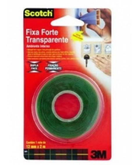 Fita Fixa Forte Adesiva Transparente Dupla Face 19mmx2m 3m B