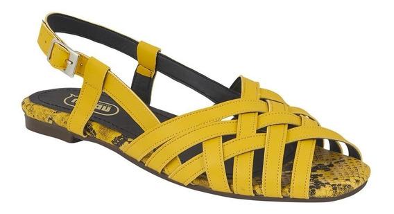 Calzado Zapato Flat Dama Mujer Tiras Cruzadas Tipo Piel Amar