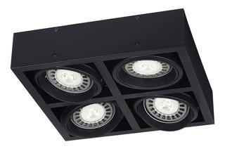 Plafon 4 Luces Cardanico Negro Moderno Apto Led Ar111 220v