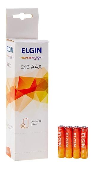 Pilha Palito Aaa R03 Zinco Caixa Com 60 Unidades Elgin