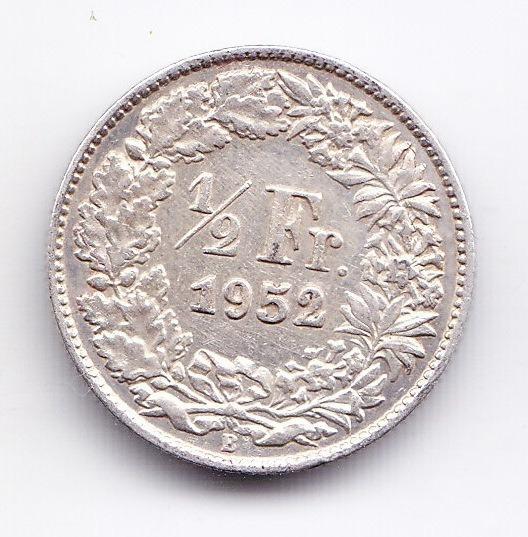 Suiza Moneda De 1/2 Franco 1952 De Plata Km 23 Unc