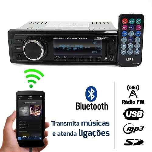Som Automotivo Radio Fm Mp3 Bluetooth Usb Sd 4rca Tiger Auto