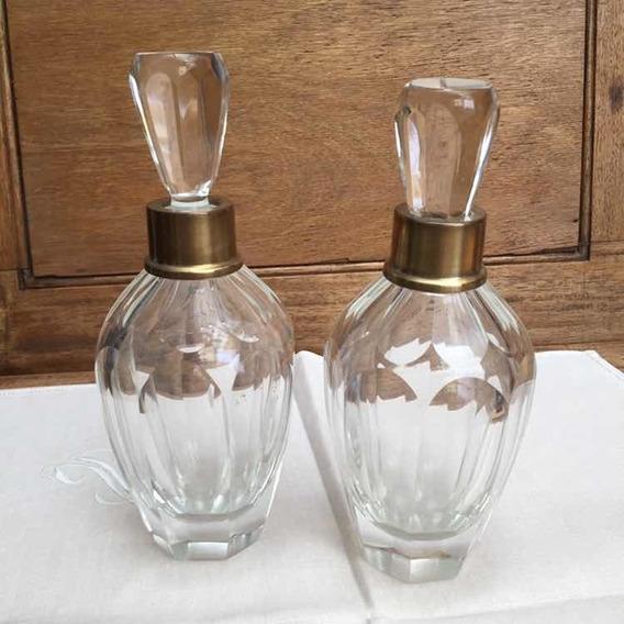 Dos Antiguos Perfumeros Retro En Cristal Facetado