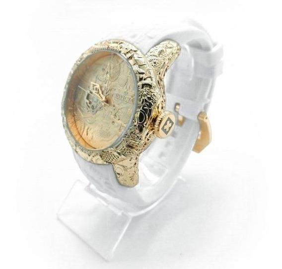 Relógio Invicta Yakuza S2 Dourado/branco Orig. Promoção