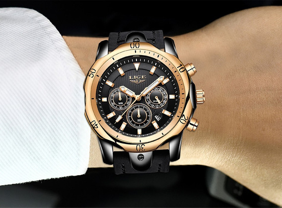 Relógio Pulso - Lige Fashion E Casual 42mm - Vidro Hardlex