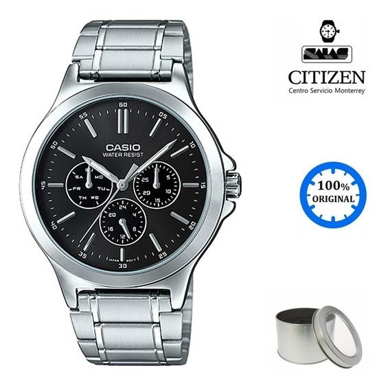 Reloj Casio Quartz Mtpv300 Negro *watchsalas*