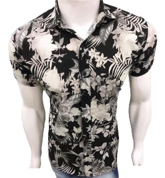 Camisa Social Manga Curta Masculina Estampada Slim Floral