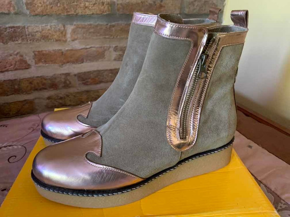 Botas De Cuero Y Nobuk T40 Hermosas!