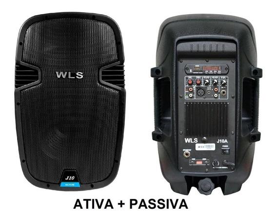 Caixa Ativa Wls J10 Par Ativa + Passiva + Cabo Kit Áudio