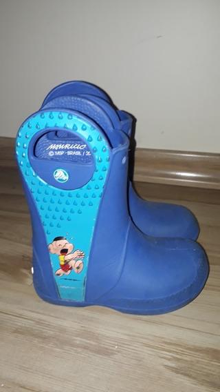Bota Galocha Crocs Cascao Infantil Tam 11 Azul