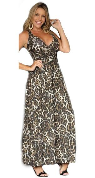 Vestido Longo Feminino Estampado Onça