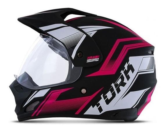 Capacete Feminino Moto Cross Tork Th1 New Adventure Rosa